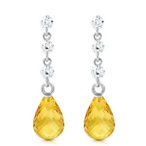 14K. SOLID GOLD EARRING WITH DIAMONDS & CITRINES
